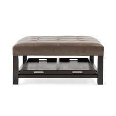 "Stylish & versatile, the Arhaus Butler 39"" Tufted Leather Square Biscuit Ottoman in Lil Battle grey works as a stunning coffee table or ottoman."