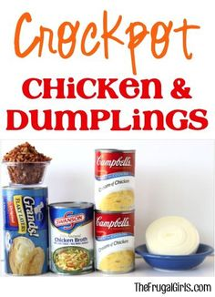 Crockpot Chicken and Dumplings Recipe! ~ from TheFrugalGirls.com ~ this Slow Cooker dinner is SO easy and the maximum comfort food! #slowcooker #recipes #thefrugalgirls