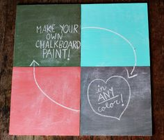 DIY Chalkboard Paint you can make in any color! How cool is that?! You can paint the glass on a frame for an instant chalkboard, or get creative with items like mugs, desks, etc.