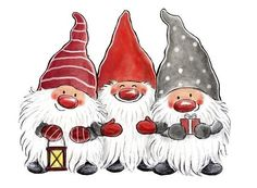 - Three happy and bearded gnomes. -- All images (C) Copyright Åsa Gustafsson Christmas Rock, Christmas Gnome, All Things Christmas, Winter Christmas, Vintage Christmas, Christmas Crafts, Christmas Decorations, Christmas Ornaments, Merry Christmas