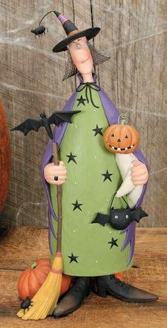 Witch Holding Broom and Ghost Figurine – Halloween Folk Art & Collectibles – Williraye Studio $50.00