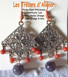 """Boucles d'Oreilles Style """"Oriental"""" avec Perles Semi-Précieuses : Améthyste et Jade Orange, : Boucles d'oreille par les-tresors-d-alienor"""
