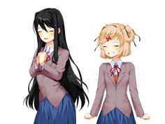 Natsuki and Yuri with their realistic hair colors. (for /u/MonikaTheOneAndOnly) : DDLC Cute Games, Awesome Games, Breaking The Fourth Wall, Oki Doki, Psychological Horror, Yandere Simulator, Literature Club, World Of Books, Together Forever