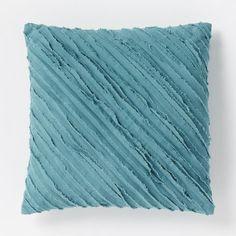 Diagonal Frayed Pillow - Aquamarine