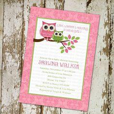 owl baby shower invitations, baby girl, owl with damask background, digital, printable file (item 1317). $13.00, via Etsy.