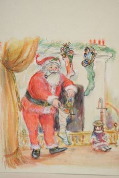 Original Night Before Christmas Book Illustration Painting Tell a Tale Whitman