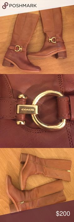 """Coach Riding Boots These are my favorite boots ever. I love them so much but don't wear them enough for how expensive they are. Leather in excellent condition. Heel is 2"""" Coach Shoes Heeled Boots"""
