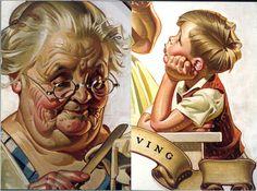 J.C. Leyendecker, original oil painting, illustration art for Saturday Evening Post, Thanksgiving cover (details).