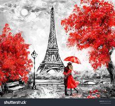 Oil Painting, Paris. european city landscape. France, Wallpaper, eiffel tower. Black, white and red, Modern art. Couple under an umbrella on street