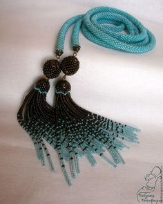 Bead crochet rope necklace with seed bead tassles Tassel Jewelry, Beaded Jewelry, Beaded Bracelets, Wire Jewelry, Rope Necklace, Crochet Necklace, Wire Earrings, Handmade Beads, Handmade Jewelry