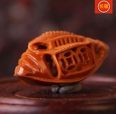 Boat Ship sculpture - Traditional HANDMADE Chinese pit carved art mini Statue seed