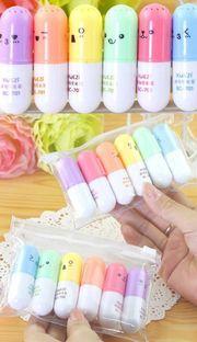 Emoji pill capsule highlighter pen set