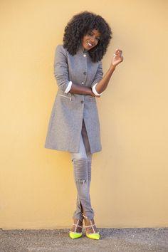 Style Pantry   Grey Classic Coat + Grey Moto Jeans