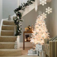 Fesselnd Kleiner Dekorativer Weihnachtsbaum Künstlich Weiss Schmuck Treppen
