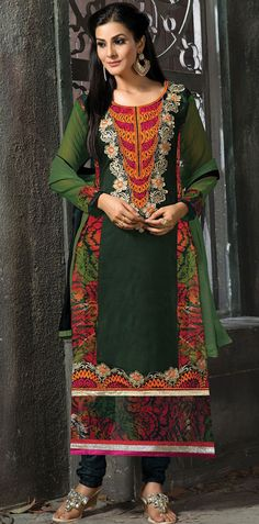 USD 35.16 Camo Green Faux Georgette Long Churidar Suit 42663