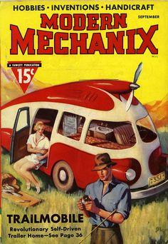 """Modern Mechanix"", Vintage space age illustrations. Vintage magazine covers fun, retro"