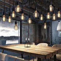 Lixada E27 Douille Rtro Abat Jour Suspensions Vintage Ajustable Lustre Plafond Lampe Dining Hall