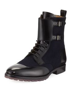 Leather and Wool Combat Boots, Blue