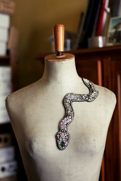 Vintage embroidered snake - application for clothes. €270.00, via Etsy.