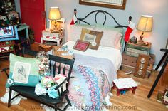 Vintage Suitcase Side table and chair nightstand! Swooning over the vintage quilt!