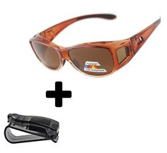 75a87c7782 Fit Over Sunglasses Polarized Sunglasses to Wear Over Glasses plus car  holder clip - Brown -