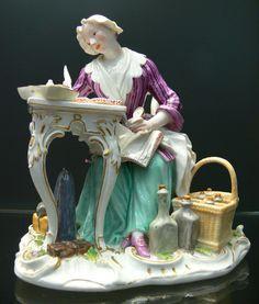 Female merchant writing, Meissen porcelain sculpture, 1772. Reiss-Engelhorn-Museen, Mannheim (displayed at the Zeughaus location of the museum). Sculpture: Unknown; Photo: Andreas Praefcke