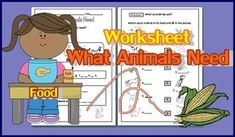 What Animals Need WorksheetMain Concept: 1. Animals are living things. They need food, water and air.2. Animals need different types of food.3. There are 3 groups of animals according to the food they eat:     - Eat plants only      - Eat other animals only     - Eat both plants and other animals4.