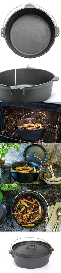 Guro Pre-Seasoned Cast Iron Round Dutch Oven, Black, 4.7QT / 8.45QT (8.45QT / 8 Liters) Cast Iron, It Cast, Dutch Ovens, Cookware, Black, Diy Kitchen Appliances, Kitchen Gadgets, Black People, Dutch Oven