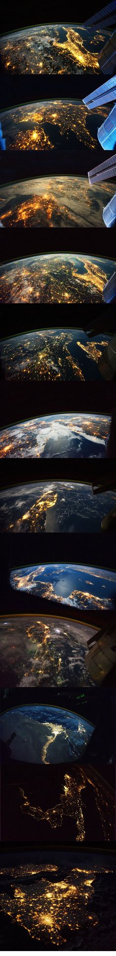 Earth at night from space…in love with these pictures. So breathtaking! Earth at night from space…in love with these pictures. So breathtaking! Cosmos, Earth At Night, Carl Sagan, Space And Astronomy, Earth From Space, To Infinity And Beyond, Space Travel, Space Exploration, Milky Way
