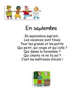 poésie pour la rentrée. French Teaching Resources, Teaching French, Teaching Ideas, How To Speak French, Learn French, French Poems, French Nursery, Ontario Curriculum, Core French