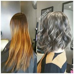 Nice color CHARCOAL BROWN! #transformationtuesday. Chopped off her old ombre (not done by me) into a textured long bob (#lob). For her color I chose an extremely smokey gray/brown! Loving how this color turned out! I used @Schwarzkopfusa Igora Royal 6-32, 4-13 for this unique brown! Effortless waves by my assistant @maayanbescene #BESCENE