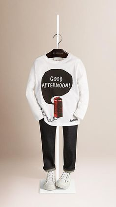 White Good Afternoon Graphic Cotton Top - Image 1