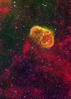 Crescent Nebula. Love the orange but not sure what element it is in false color.