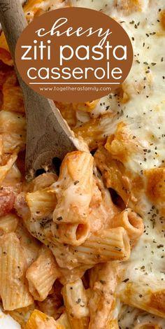 Ziti Pasta Bake Pasta Casserole Casserole Recipes Pasta Recipes Pasta Bake with ziti pasta noodles mozzarella cheese cream cheese jarred spaghetti sauce diced tomatoe. Baked Pasta Recipes, Easy Casserole Recipes, Cooking Recipes, Baked Pasta Dishes, Easy Pasta Dinner Recipes, Italian Pasta Recipes, Easy Pasta Bake, Ricotta Cheese Recipes Pasta, Easy Pasta Dinners