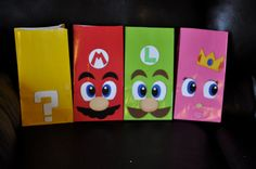 I like this idea... Could DIY for less per bag. (Birthday Super Mario Bros Inspired Goody/Treat by collegesxpensive. , via Etsy.)