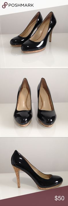 Nine West Black Heels Black patent leather pumps with cork platform and heel detailing. These great shoes have never been worn. Nine West Shoes Heels