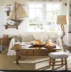 Estilo natural de inspiración marinera • Marine natural decor, with rope floor lamp   Pottery Barn