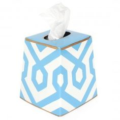 Hand Painted Toleware- Madison Blue Tissue Box Cover - Liz Ann's Interior Design Boutique http://lizann.myshopify.com/products/hand-painted-toleware-madison-blue-tissue-box-cover