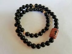 Orthodox Chotki Wrap Bracelet - 50 hand carved Ebony Wood beads, Red Cedar Wood Orthodox Cross, Gold Filled accents, Prayer Rope-Komboskini