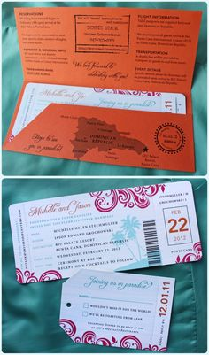 Redesign this airline ticket idea into a vintage invitation with the correct colors