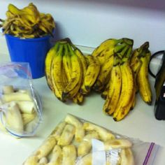 You can buy bananas cheaply when they are overripe and freeze them. They are easy to use in smoothies and breads.  I don't peel mine first.  I thaw them in the toaster oven for 30 seconds, then they slide out of their skins easily.