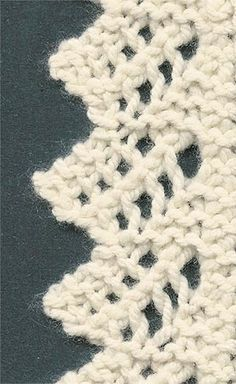"#Knitting stitch - #Lace edging -- ""This gorgeous lace edging is an uncomplicated 8 row pattern. It's a garter stitch edge and every other row is just knitted plain. It makes a great blanket or shawl edge, but would be stunning as a hem for a summer top, too!"" comment via #KnittingGuru"