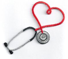 IRON ON PATCH/APPLIQUE Embroidered Red Stethoscope ~ Available for sale in 9 colors