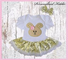 2pc Easter outfit bunny sequin tutu dress by Personalizedkiddie