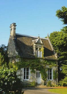There is so much to love here, actually everything. The gable-end chimney, the dormer, the roofline with decorations, the small size and ...