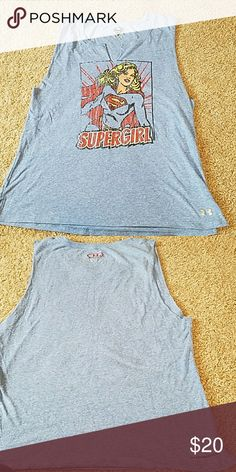 Cut off workout top Supergirl under armour cut off workout top  Size large like new worn 2 times great condition. Under Armour Tops Muscle Tees