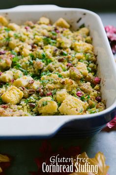Gluten-Free Cornbread Stuffing #thanksgiving- Omit Pecan if allergic sub out butter for dairy free