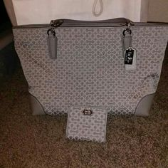 Only used twice coach purse Light grey matching wallet with it with a silky purole inside Coach Bags Shoulder Bags