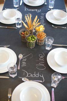 slatetop table chalk name places! amazing.