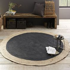 Bordered Round Jute Rug - Slate #westelm on sale for only $118 now!!  perfect for the kitchen